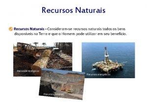 Recursos Naturais Consideramse recursos naturais todos os bens