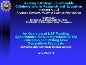 Building Strategic Sustainable Collaborations in Research and Education