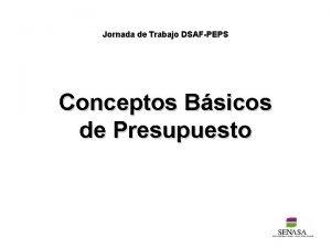 Jornada de Trabajo DSAFPEPS Conceptos Bsicos de Presupuesto