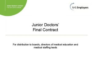 Junior doctors contract The new 2016 contract Junior