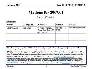 January 2007 doc IEEE 802 11 070089 r