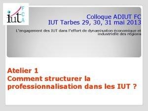 Colloque ADIUT FC IUT Tarbes 29 30 31