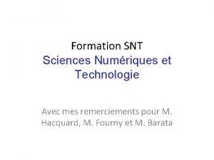 Formation SNT Sciences Numriques et Technologie Avec mes