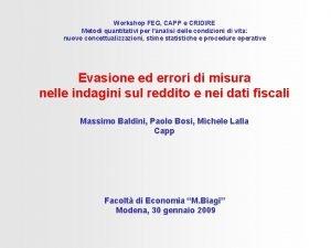 Workshop FEG CAPP e CRIDIRE Metodi quantitativi per