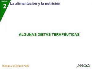 UNIDAD 2 La alimentacin y la nutricin ALGUNAS