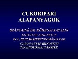 CUKORIPARI ALAPANYAGOK SZNTAIN DR KHEGYI KATALIN EGYETEMI ADJUNKTUS