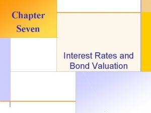 Chapter Seven Interest Rates and Bond Valuation 2003