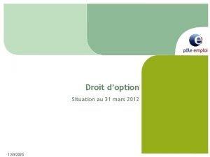 Droit doption Situation au 31 mars 2012 1232020