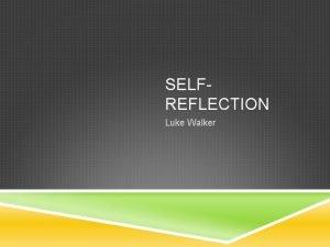 SELFREFLECTION Luke Walker FIRST POST Before I started