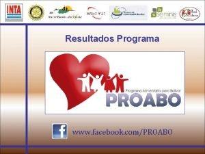 Resultados Programa www facebook comPROABO Estadsticas del Programa