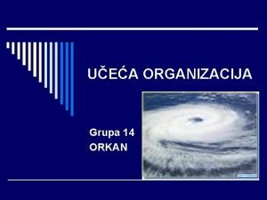 UEA ORGANIZACIJA Grupa 14 ORKAN Grupa 14 ORKAN