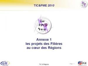 TICPME 2010 Annexe 1 les projets des Filires