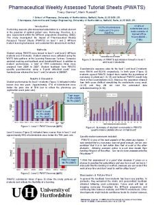 Pharmaceutical Weekly Assessed Tutorial Sheets PWATS Tracy Garnier