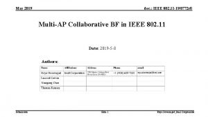 May 2019 doc IEEE 802 11 190772 r