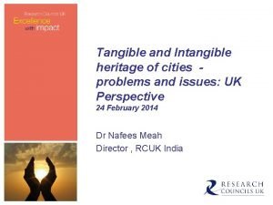 Tangible and Intangible heritage of cities problems and