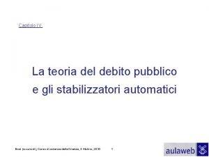 Capitolo IV La teoria del debito pubblico e