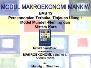 BAB 12 Perekonomian Terbuka Tinjauan Ulang Model MundellFleming