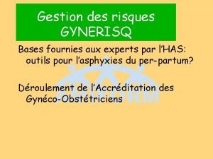 Gestion des risques GYNERISQ Bases fournies aux experts