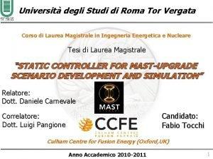 Universit degli Studi di Roma Tor Vergata Corso