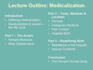 Lecture Outline Medicalization Introduction Defining medicalization Medicalization women