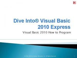 Dive Into Visual Basic 2010 Express Visual Basic