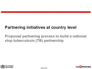 Partnering initiatives at country level Proposed partnering process