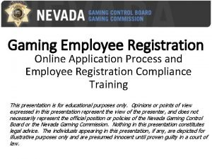 Gaming Employee Registration Online Application Process and Employee