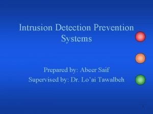 Intrusion Detection Prevention Systems Prepared by Abeer Saif