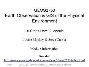 GEOG 2750 Earth Observation GIS of the Physical