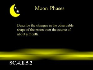 Moon Phases Describe the changes in the observable