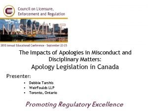 The Impacts of Apologies in Misconduct and Disciplinary