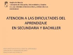 Regin de Murcia Consejera de Educacin Universidades y