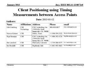 January 2013 doc IEEE 802 11 130072 r