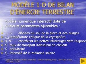MODLE 1 D DE BILAN DNERGIE TERRESTRE Modle