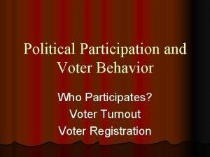 Political Participation and Voter Behavior Who Participates Voter