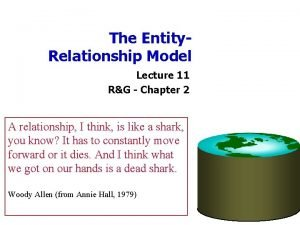 The Entity Relationship Model Lecture 11 RG Chapter