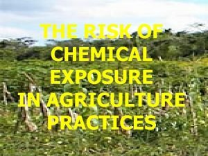 THE RISK OF CHEMICAL EXPOSURE IN AGRICULTURE PRACTICES