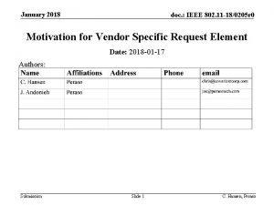 January 2018 doc IEEE 802 11 180205 r