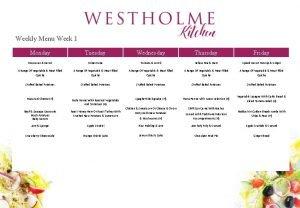Weekly Menu Week 1 Monday Tuesday Wednesday Thursday