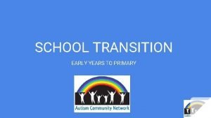 SCHOOL TRANSITION EARLY YEARS TO PRIMARY Available Options