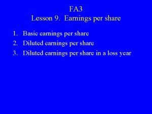 FA 3 Lesson 9 Earnings per share 1