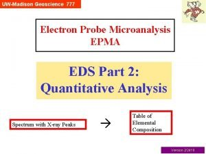 UWMadison Geoscience 777 Electron Probe Microanalysis EPMA EDS