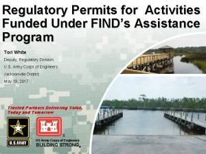 Regulatory Permits for Activities Funded Under FINDs Assistance