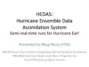 HEDAS Hurricane Ensemble Data Assimilation System Semirealtime runs