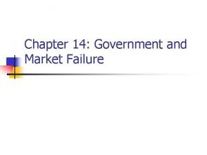 Chapter 14 Government and Market Failure Externalities n