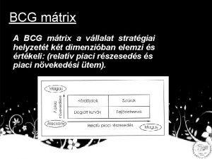 BCG mtrix A BCG mtrix a vllalat stratgiai