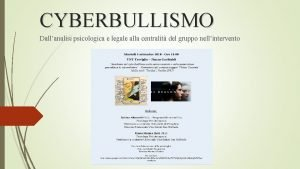 CYBERBULLISMO Dallanalisi psicologica e legale alla centralit del