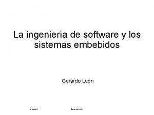 La ingeniera de software y los sistemas embebidos
