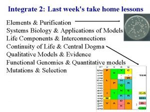 Integrate 2 Last weeks take home lessons Elements