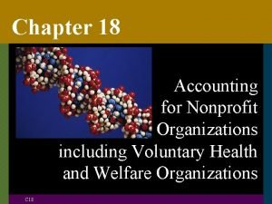 Chapter 18 Accounting for Nonprofit Organizations including Voluntary